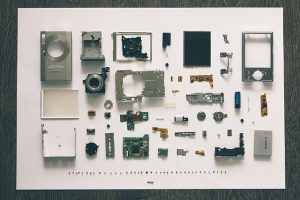 A completely disassembled camera.