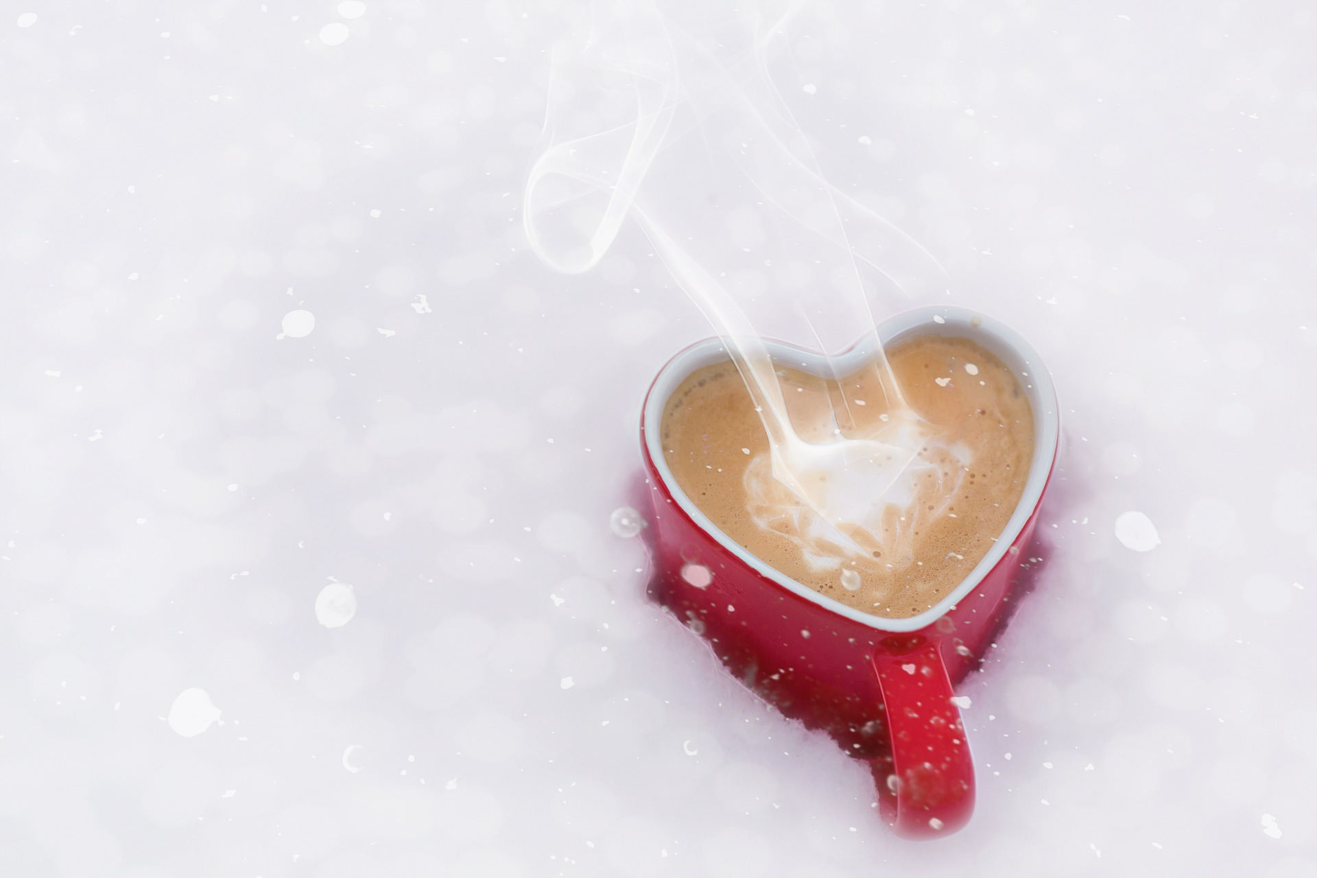 A cup of coffee in the snow