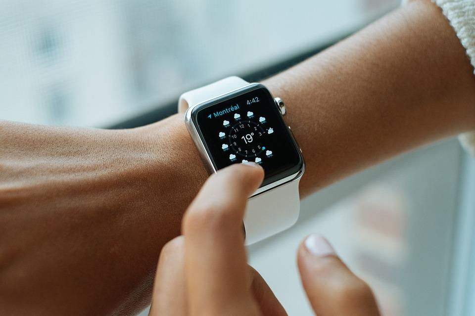 A watch on a woman's wrist.