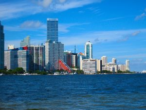 Miami downtown. Miami is one of the best FL cities for sports fans.