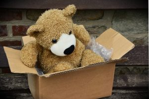 A teddy bear in a cardboard box