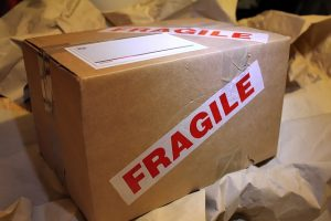A box with fragile sign on it