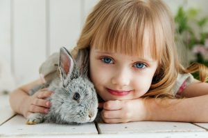 a girl hugging a grey rabbit