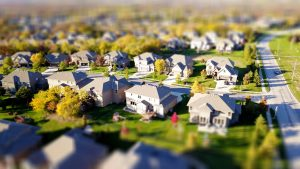 a photo of the suburban neighborhood from above