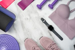 sports bra, weights, rubber bands, watch and trainers. storing fitness equipment does not have to be hard with the right tips.