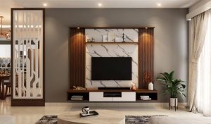 a living room with a large, black, LED Tv