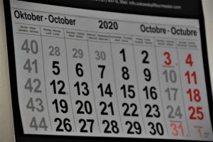 A calendar showing days of October