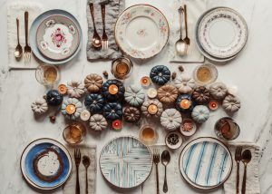 white porcelain plates on the table