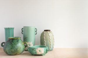 green porcelain vases