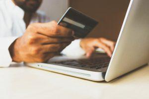man paying online