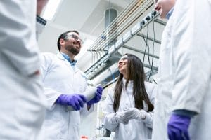 people talking in the laboratory