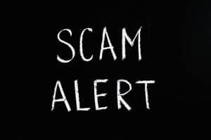an alert on scam of wrong places to find something