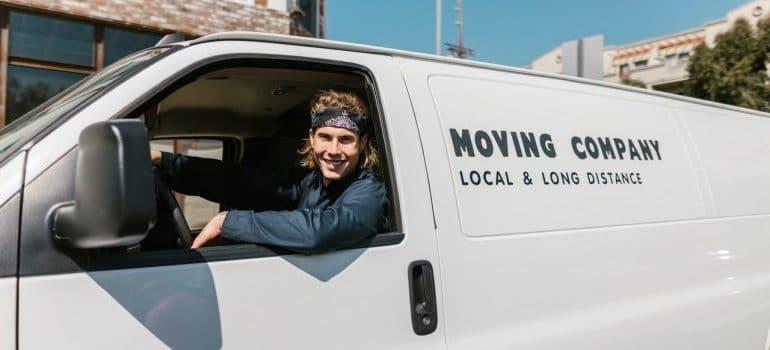 A mover driving a van