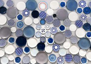 white and blue porcelain