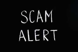 Scam Alert written in white on a black background