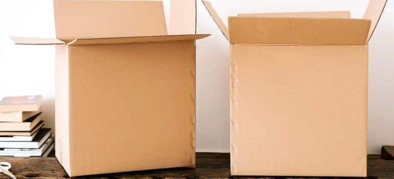 two cardboard moving boxes