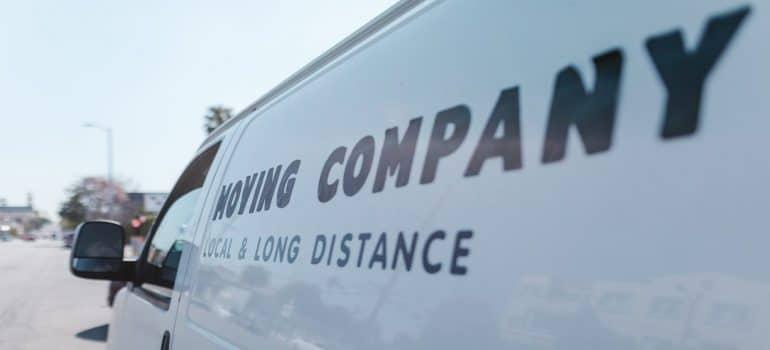 a white moving company van