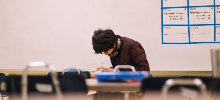 A student in classroom in one of US cities with best state schools, Las Vegas