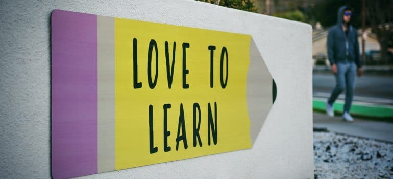 """A """"Love to Learn"""" sign"""